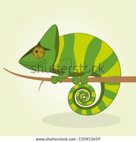 Vector Illustration of Cartoon Chameleon - stock vector