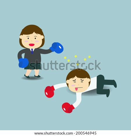 Vector illustration of cartoon character : businesswoman and businessman in boxing match.  - stock vector