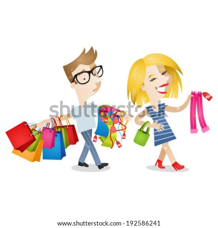 Vector illustration of cartoon characters: Couple shopping clothes; happy girl picking out clothes, boyfriend/husband carrying bags looking fatigued and bored. - stock vector