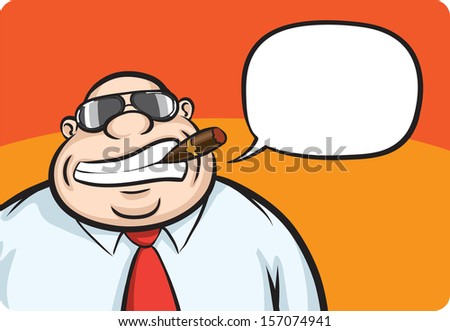 Vector illustration of cartoon cheerful boss with speech bubble. Easy-edit layered vector EPS10 file scalable to any size without quality loss. High resolution raster JPG file is included. - stock vector
