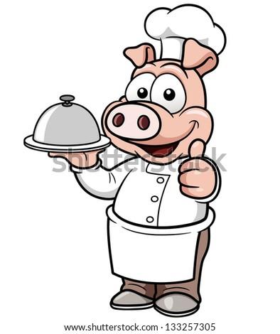 Vector illustration of Cartoon chef pig - stock vector