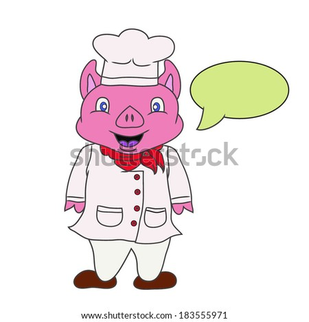 Vector illustration of cartoon chef pig on white background - stock vector