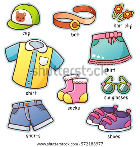 vector illustration cartoon clothes vocabulary stock vector royalty