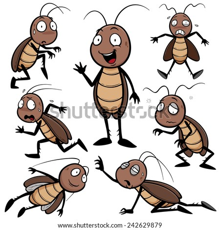 Vector illustration of Cartoon cockroach - stock vector