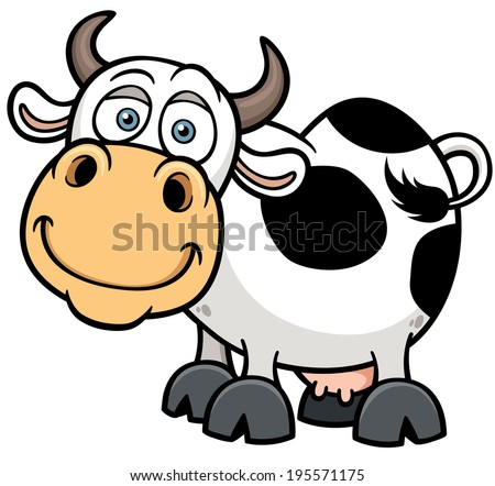 Vector illustration of Cartoon Cow - stock vector