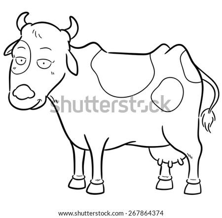 Vector Illustration Cartoon Cow Coloring Book Stock Vector 267864374 ...