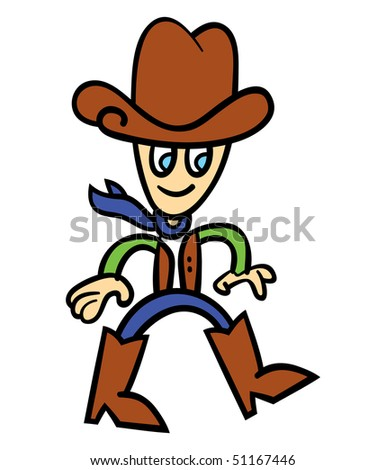 Vector illustration of cartoon cowboy - stock vector