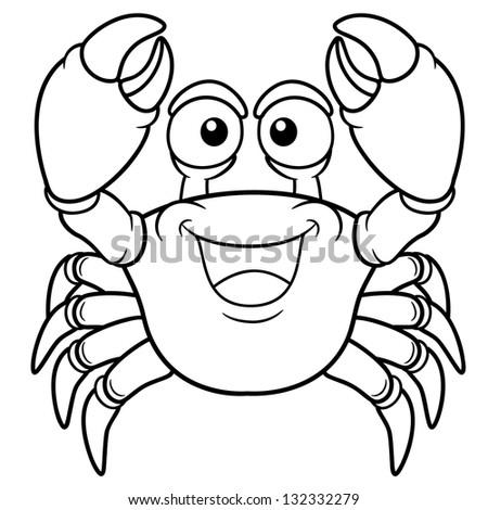 Vector illustration of Cartoon crab - Coloring book - stock vector