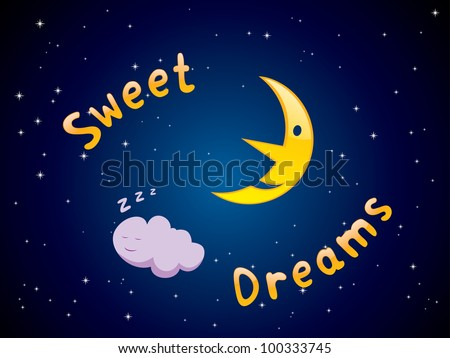 """Vector illustration of cartoon crescent and sleeping cloud with """"Sweet Dreams"""" text - stock vector"""
