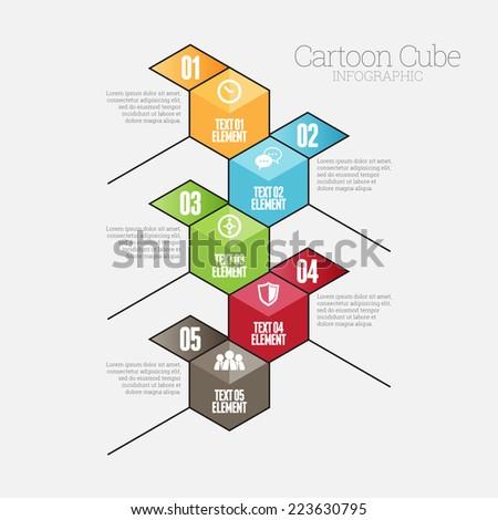 Vector illustration of cartoon cube infographic design element. - stock vector