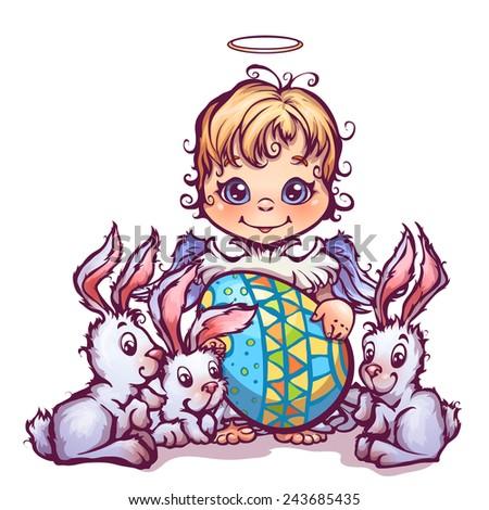 Vector illustration of cartoon cute angel ant sweet rabbits - stock vector