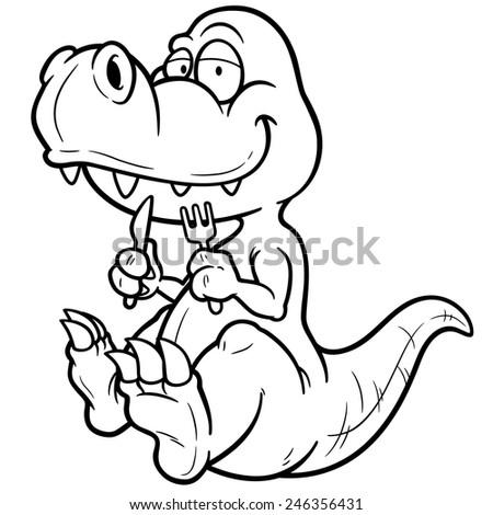 Vector illustration of Cartoon dinosaur - Coloring book - stock vector