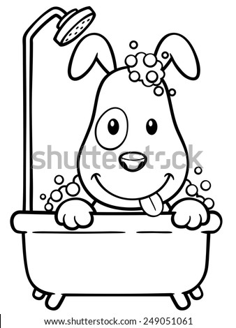 Vector illustration of Cartoon Dog Bathing - Coloring book - stock vector