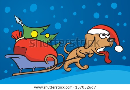 Vector illustration of cartoon dog dragging christmas sleigh. Easy-edit layered vector EPS10 file scalable to any size without quality loss. High resolution raster JPG file is included. - stock vector
