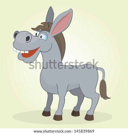 Vector Illustration of Cartoon Donkey - stock vector