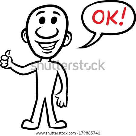 Vector illustration of cartoon doodle small person - showing thumbs up. Easy-edit layered vector EPS10 file scalable to any size without quality loss. High resolution raster JPG file is included.  - stock vector