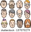 Vector illustration of cartoon faces. Easy-edit layered vector EPS10 file scalable to any size without quality loss. High resolution raster JPG file is included. - stock