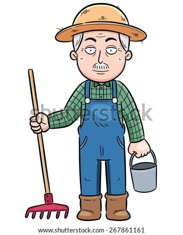Vector illustration of Cartoon Farmer - stock vector