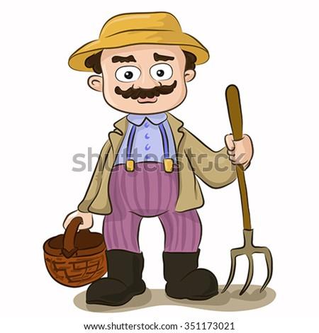 Vector illustration of cartoon farmer with pitchfork and basket on isolated white background. Character design - stock vector