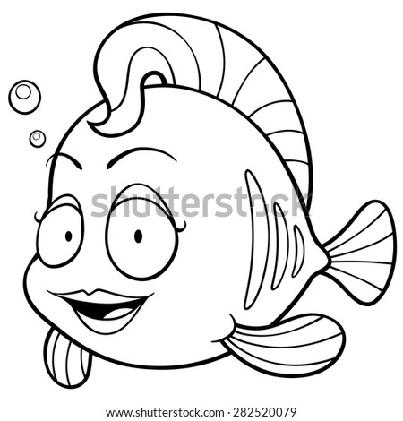 vector illustration of cartoon fish coloring book - Fish Coloring Book