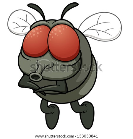 Vector illustration of cartoon fly - stock vector