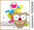 Vector illustration of cartoon funny doggy with heart on a dirty background. - stock vector
