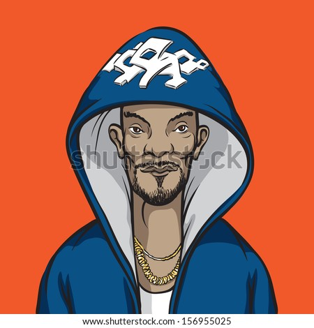 Vector illustration of cartoon hip-hop performer. Easy-edit layered vector EPS10 file scalable to any size without quality loss. High resolution raster JPG file is included. - stock vector