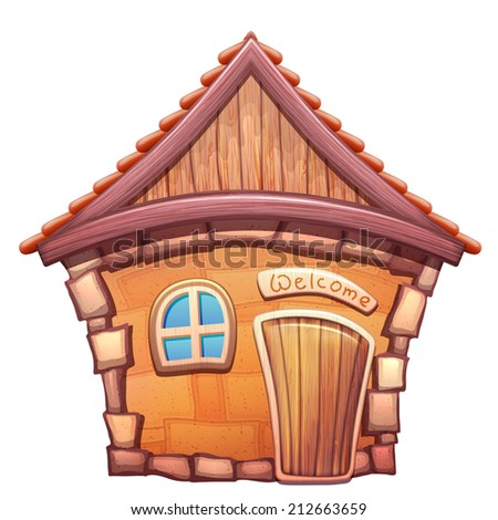 Vector illustration of cartoon home on white background - stock vector