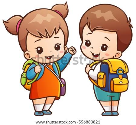 vector illustration of cartoon kids going to school - Cartoon Picture Of Child