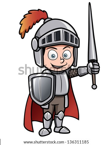 Vector illustration of Cartoon knight - stock vector