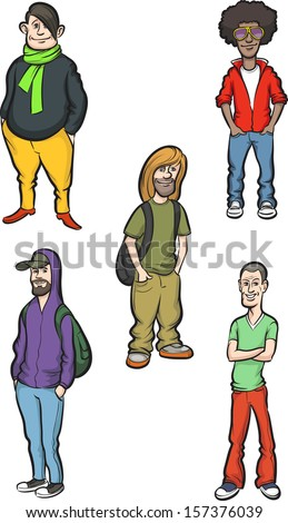 Vector illustration of cartoon modern young men. Easy-edit layered vector EPS10 file scalable to any size without quality loss. High resolution raster JPG file is included. - stock vector