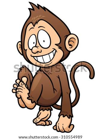 Vector illustration of cartoon monkey - stock vector