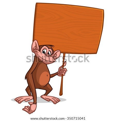 Vector illustration of Cartoon monkey with wooden sign. Isolated on white background. Chinese New year character - stock vector