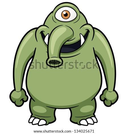 Vector illustration of cartoon monster - stock vector
