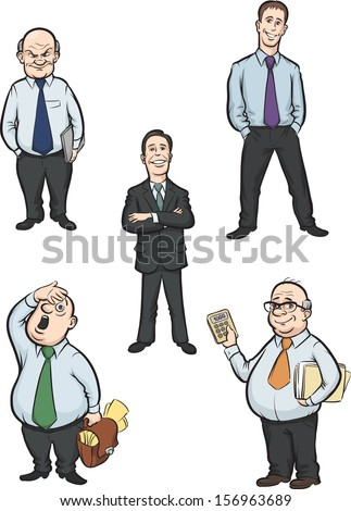 Vector illustration of cartoon office men figures. Easy-edit layered vector EPS10 file scalable to any size without quality loss. High resolution raster JPG file is included. - stock vector