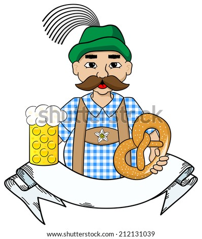 vector illustration of cartoon oktoberfest man with beer and pretzel and banner - stock vector