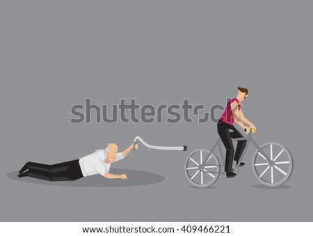 Vector illustration of cartoon old man fell down on cyclist road isolated on grey background. - stock vector