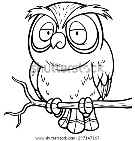 Vector Illustration Cartoon Owl Sitting On Stock Vector