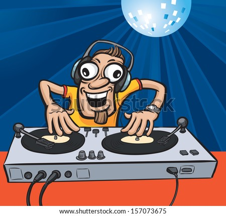 Vector illustration of Cartoon party DJ. Easy-edit layered vector EPS10 file scalable to any size without quality loss. High resolution raster JPG file is included. - stock vector