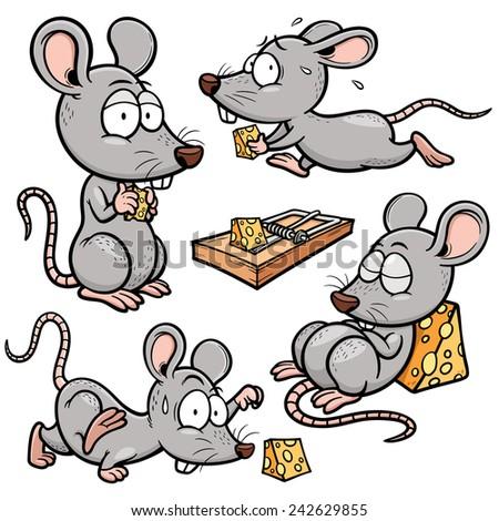 Vector illustration of Cartoon rat - stock vector
