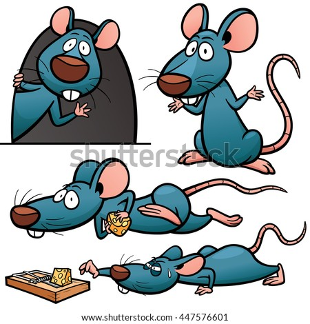 Vector illustration of Cartoon Rat Character Set