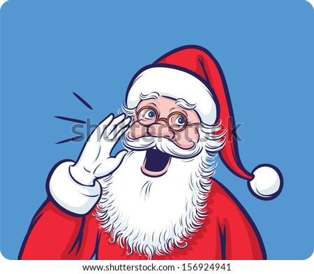 Vector illustration of Cartoon Santa Claus calling. Easy-edit layered vector EPS10 file scalable to any size without quality loss. High resolution raster JPG file is included.  - stock vector