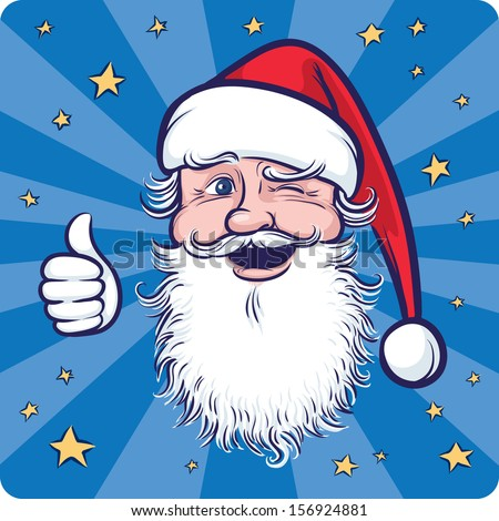 Vector illustration of Cartoon Santa Claus winking and thumb up. Easy-edit layered vector EPS10 file scalable to any size without quality loss. High resolution raster JPG file is included.  - stock vector