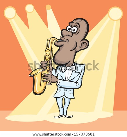 Vector illustration of Cartoon saxophone player. Easy-edit layered vector EPS10 file scalable to any size without quality loss. High resolution raster JPG file is included. - stock vector
