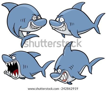 Vector illustration of Cartoon Shark - stock vector