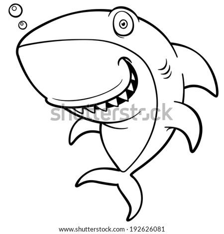 Vector Illustration Cartoon Shark Coloring Book Stock Vector HD ...