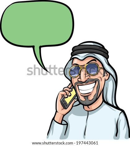 Vector illustration of cartoon - smiling arab man talking on a mobile phone. - stock vector