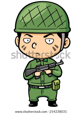 Vector illustration of Cartoon Soldier - stock vector