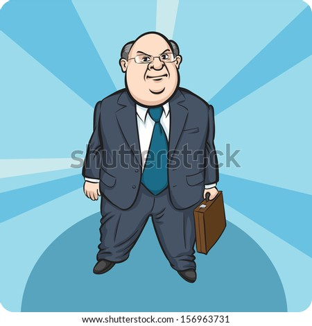 Vector illustration of Cartoon standing fat businessman. Easy-edit layered vector EPS10 file scalable to any size without quality loss. High resolution raster JPG file is included. - stock vector