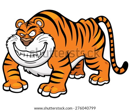 Vector illustration of Cartoon tiger